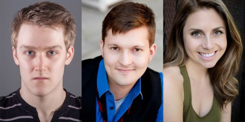 """The Rocky Horror Show"" takes the Roxy stage Friday, October 25th with (L to R) Michael Spaziani as Dr. Frank N. Furter, Evan Taylor Williams as Brad and Ashley Harris as Janet."