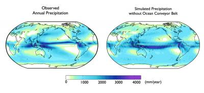At the left is observations of average annual precipitation. The right is simulated precipitation with ocean conveyor-belt circulation turned off. (D. Frierson/UW)