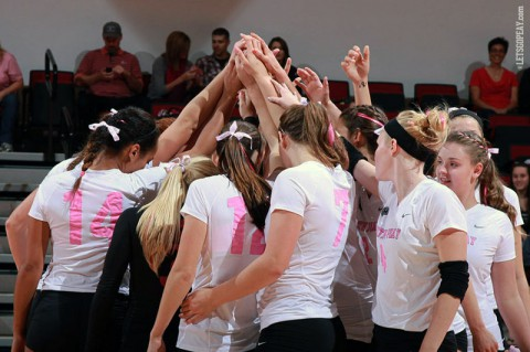 Austin Peay's volleyball team will seek to improve its road record when it travels to Eastern Illinois and SIU Edwardsville for Ohio Valley Conference action this weekend. (Brittney Sparn/APSU Sports Information)