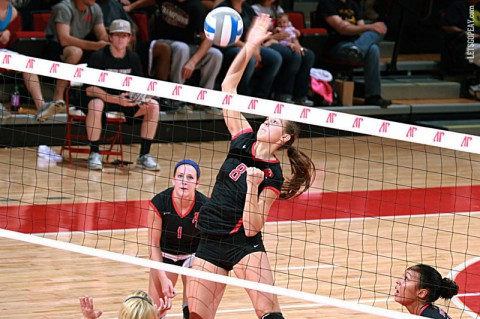 Junior Liz Landon led Austin Peay with 17 kills, Friday, in a five-set loss at Eastern Illinois. (Brittney Sparn/APSU Sports Information)