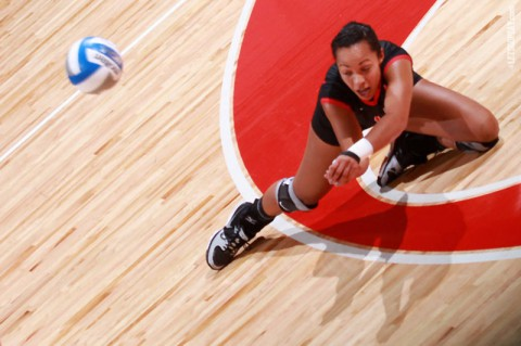 Junior Jada Stotts led Austin Peay with 18 kills, Saturday, in a four-set win at SIUE. (Brittney Sparn/APSU Sports Information)