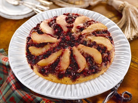 Cranberry Pear Upside-Down Almond Cake