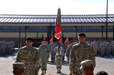The 326th Engineer Battalion conducts a patch changing ceremony to mark the unit's return to the 1st Brigade Combat Team, 101st Airborne Division Oct. 18 at the battalion headquarters here. (Sgt. 1st Class John Brown)