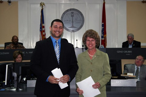 Newly sworn in Ward 1 Councilman Michael McNeill with Clarksville Mayor Kim McMillan.