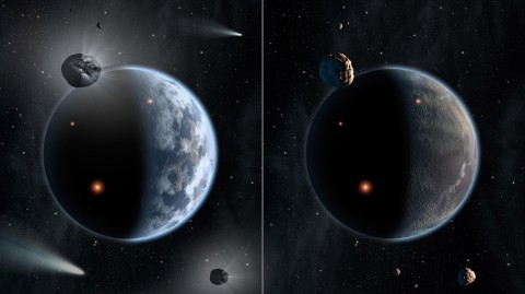 This artist's concept illustrates the fate of two different planets: the one on the left is similar to Earth, made up largely of silicate-based rocks with oceans coating its surface. The one on the right is rich in carbon -- and dry. Chances are low that life as we know it, which requires liquid water, would thrive under such barren conditions. (NASA/JPL-Caltech)