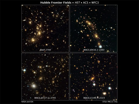 These are NASA Hubble Space Telescope natural-color images of four target galaxy clusters that are part of an ambitious new observing program called The Frontier Fields.