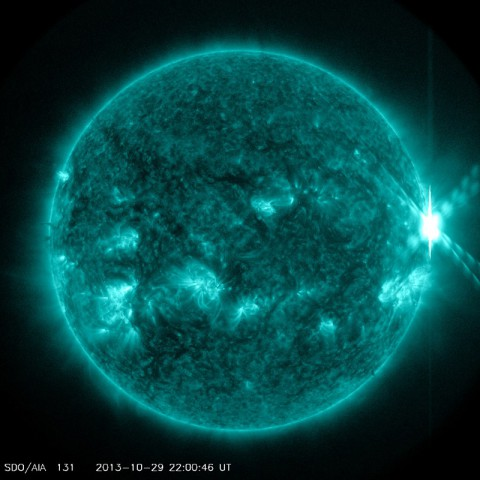 An X2-class solar flare recorded by NASA's Solar Dynamics Observatory on Sept. 29, 2013.