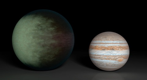 Kepler-7b (left), which is 1.5 times the radius of Jupiter (right), is the first exoplanet to have its clouds mapped. The cloud map was produced using data from NASA's Kepler and Spitzer space telescopes. (NASA/JPL-Caltech/MIT)