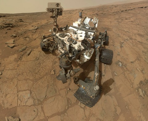 This self-portrait of NASA's Mars rover Curiosity combines 66 exposures taken by the rover's Mars Hand Lens Imager (MAHLI) during the 177th Martian day, or sol, of Curiosity's work on Mars (Feb. 3, 2013). (NASA/JPL-Caltech/MSSS)