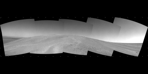 """NASA's Mars Exploration Rover Opportunity captured this southward uphill view after beginning to ascend the northwestern slope of """"Solander Point"""" on the western rim of Endeavour Crater. (NASA/JPL-Caltech)"""