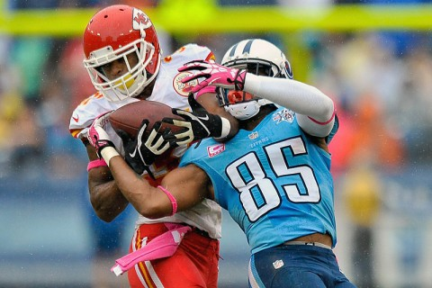 Kansas City Chiefs cornerback Marcus Cooper (31) intercepts a pass intended for Tennessee Titans wide receiver Nate Washington (85) during the second half at LP Field. The Chiefs won 26-17. (Jim Brown-USA TODAY Sports)