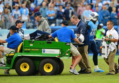 Tennessee Titans quarterback Jake Locker (10) is carried off the field on a stretcher in a game against the New York Jets during the second half at LP Field. The Titans beat the Jets 38-13. (Don McPeak-USA TODAY Sports)