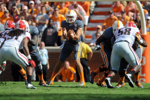 Tennessee Volunteers quarterback Justin Worley (14) during the first quarter against the Georgia Bulldogs at Neyland Stadium. (Randy Sartin-USA TODAY Sports)