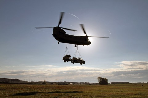 The second of four AN/MPQ-64A Sentinel radars and its Humvee from Battery C, 2nd Battalion, 44th Air Defense Artillery Regiment, 101st Sustainment Brigade, 101st Airborne Division (Air Assault), flies to its objective during an air assault training exercise Oct. 22 at Fort Campbell, Ky.  (U.S. Army Photo by Sgt. Leejay Lockhart, 101st Sustainment Brigade Public Affairs)