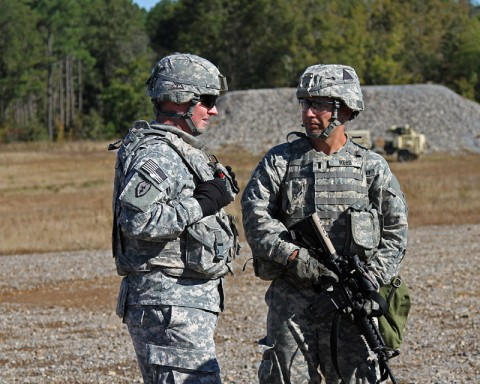 Col. Edward O'Neil, commander of the 108th Air Defense Artillery Brigade, talks to 1st Lt. Mitchel Reed, the platoon leader for the Sentinel platoon, Battery C, 2nd Battalion, 44th Air Defense Artillery, 101st Sustainment Brigade, 101st Airborne Division (Air Assault), during a training mission Oct. 22 at Fort Campbell Ky. (U.S. Army Photo by Sgt. Leejay Lockhart, 101st Sustainment Brigade Public Affairs)