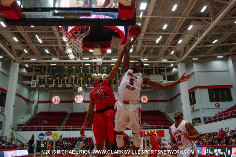 APSU's Chris Horton takes the ball to the basket against Central Missouri.