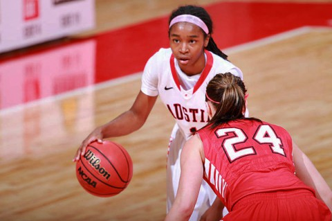 Sophomore Tiasha Gray tied her career high with 22 points in Austin Peay's loss at Western Kentucky, Saturday. (Brittney Sparn/APSU Sports Information)