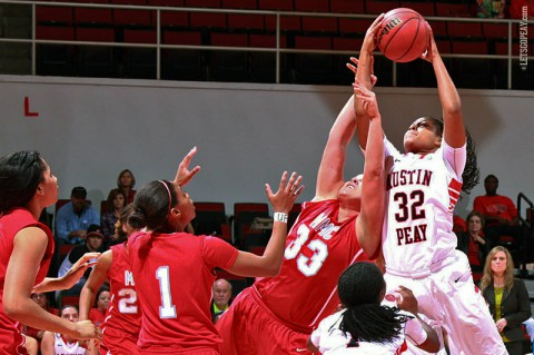 Sophomore Alexis Hardaway notched her first career double-double in the Lady Govs win at SIU, Tuesday. (Brittney Sparn/APSU Sports Information)