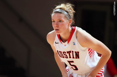 Senior guard Nicole Olszewski has averaged 13 points over the Lady Govs last three games. Austin Peay hosts Evansville in a 7:00pm, Saturday contest at the Dunn Center. (Brittney Sparn-APSU Sports Information)