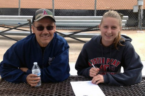 Kacy Acree from Riverside, CA signs with Austin Peay Women's Softball. (APSU Sports Information)