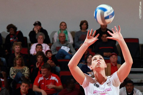 Austin Peay Sophomore Aubrey Marsellis led the Lady Govs with 14 kills and 16 assists against Morehead State. (Brittney Sparn/APSU Sports Information)