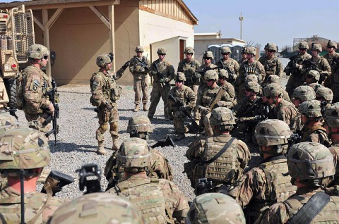 Lt. Col. Scott W. Kirkpatrick, commander of 2nd Battalion, 506th Infantry Regiment, 4th Brigade Combat Team, 101st Airborne Division (Air Assault), addresses his soldiers on the last day of their control of Forward Operating Base Salerno, Khowst province, Afghanistan, October 31st. (Photo by Sgt. Justin Moeller)