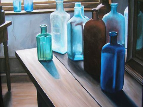 Gwendolyn Rodriguez paintings on display at the Planters Bank-Hilldale Gallery