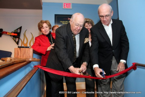 Evans Harvill and Wayne Wilkerson cut the ribbon opening  the Becoming Clarksville: Celebrating Legacies of Leadership Exhibit