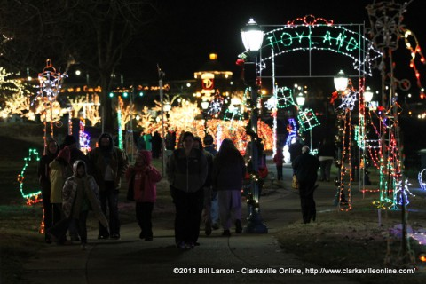 Visitors enjoy the 1,000,000 lights illuminating McGregor Park at this year's Christmas on the Cumberland.