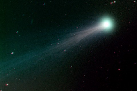 Comet ISON photographed on November 15th by amateur astronomer Mike Hankey of Auberry, California. The comet's bright head and riotous tail are consequences of an outburst on November 13th-14th that significantly boosted the comet's level of activity.