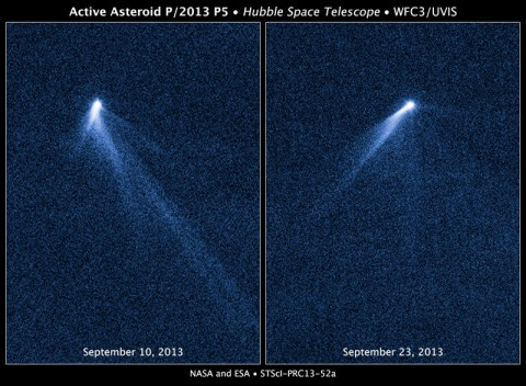This NASA Hubble Space Telescope set of images reveals a never-before-seen set of six comet-like tails radiating from a body in the asteroid belt, designated P/2013 P5.