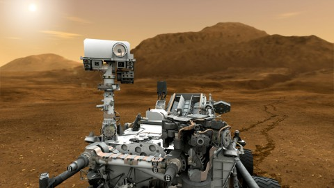 This artist concept features NASA's Mars Science Laboratory Curiosity rover, a mobile robot for investigating Mars' past or present ability to sustain microbial life. (NASA/JPL-Caltech)