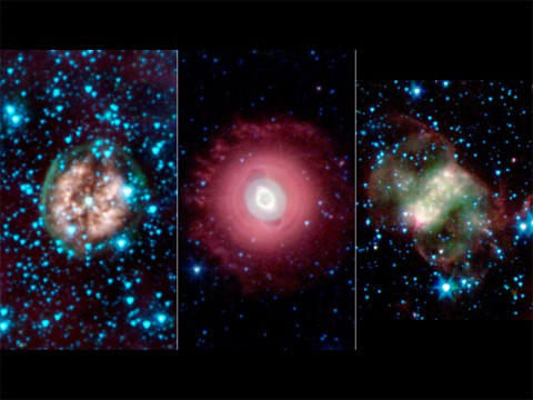 This trio of ghostly images from NASA's Spitzer Space Telescope shows the disembodied remains of dying stars called planetary nebulas. Exposed Cranium Nebula (left) | Ghost of Jupiter Nebula (middle) | Little Dumbbell Nebula (right) (NASA/JPL-Caltech/Harvard-Smithsonian CfA)
