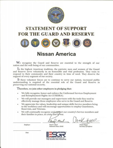 The Statement of Support prior to being signed by Nissan America.
