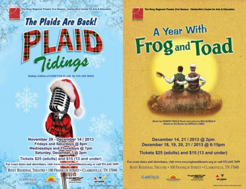 """Get discounted tickets to see """"Plaid Tidings"""" and """"A Year With Frog and Toad"""" at the Roxy's Saturday Sale."""