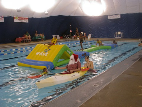 Swim with Santa at the Indoor Aquatic Center today from 2:00pm until 4:00pm.