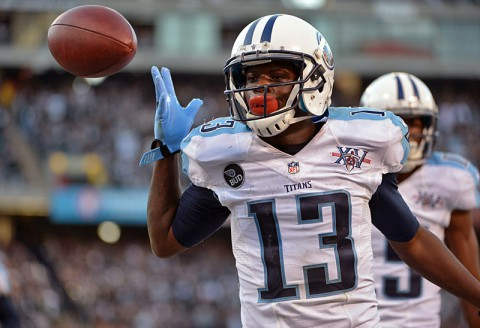 Tennessee Titans receiver Kendall Wright (13) celebrates after scoring on a 10-yard touchdown reception with 10 seconds left against the Oakland Raiders at O.co Coliseum. The Titans defeated the Raiders 23-19. (Kirby Lee-USA TODAY Sports)