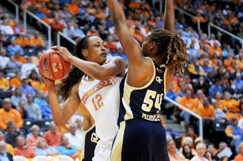 Tennessee Lady Volunteers forward Bashaara Graves (12) is defended by Georgia Tech Yellow Jackets forward Roddreka Rogers (54) during the first half at Thompson-Boling Arena. (Randy Sartin-USA TODAY Sports)