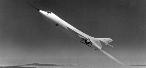 One of the three Douglas Skyrockets rockets upward during a research flight. (NASA)