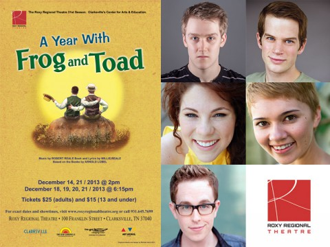 """A Year With Frog and Toad"" at the Roxy Regional Theatre starring (Top L to R) Michael Spaziani, Josh Bernaski, Jacque Clydesdale, Michelle Foletta and RJ Magee."