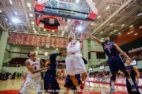 Austin Peay Men's Basketball downs Liberty 77-71 Saturday Night. (Michael Rios-Clarksville Sports Network)