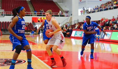 Austin Peay's Nicole Olszewski brings the Lady Govs within 4 points of MTSU at the end of the first half. (Michael Rios-Clarksville Sports Network)