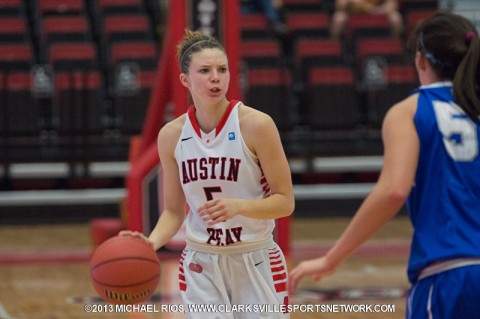 Senior Nicole Olszewski scored 13 points in her final home game for Austin Peay in the Lady Govs 79-71 loss to EKU.  (Michael Rios Clarksville Sports Network)
