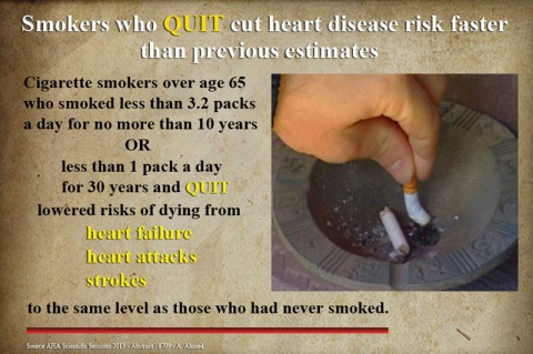 Certain smokers who quit can reduce their risk of heart disease to the level of never-smokers sooner than previously thought.