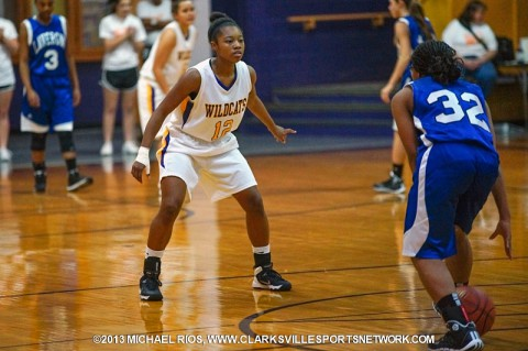 "Clarksville High Girls Basketball win ""We Back Pat"" contest over Lavergne."