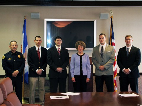 (Left to Right) Deputy Chief Frankie Gray, Daniel Binkley, James Baker, Clarksville Mayor Kim McMillan, Holden Hudgin, and George Goodman III.