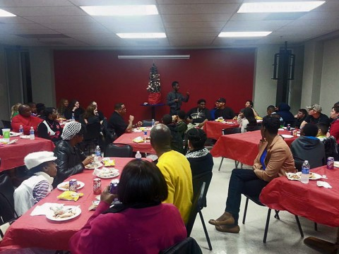 "Comedian Deztin ""DJ"" Pryor talks at the Youth Christmas Party held at the Leap Plaza."