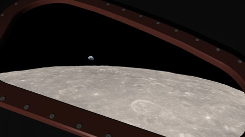 This is a computer-generated visualization of Earth rising over the lunar horizon, as seen from a window in the Apollo 8 spacecraft. (Ernie Wright/NASA Goddard Scientific Visualization Studio)