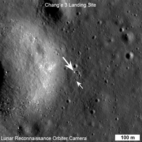 LROC NAC view of the Chang'e 3 lander (large arrow) and rover (small arrow) just before sunset on their first day of lunar exploration. LROC NAC M1142582775R, image width 576 m, north is up. (NASA/GSFC/Arizona State University)