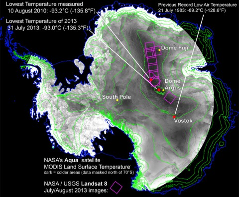 With remote-sensing satellites, scientists have found the coldest places on Earth, just off a ridge in the East Antarctic Plateau. The coldest of the cold temperatures dropped to minus 135.8 F (minus 93.2 C) -- several degrees colder than the previous record. (Ted Scambos, National Snow and Ice Data Center)